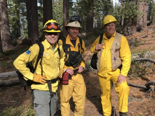 Hugh with Rich Adams (Cal St Parks) and Dave Sapsis (Cal Fire) at rx burn, Lake Tahoe, 2019